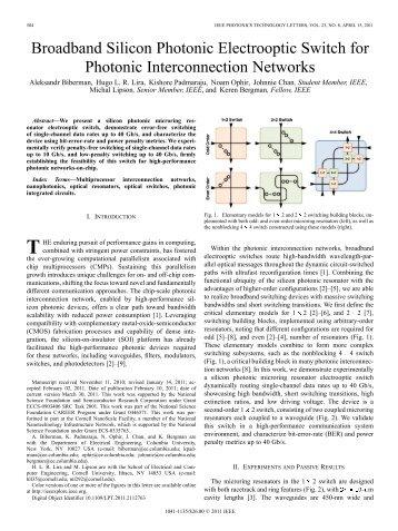 Broadband Silicon Photonic Electrooptic Switch for Photonic ...