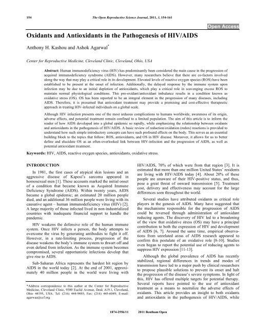 Oxidants and Antioxidants in the Pathogenesis ... - Bentham Science