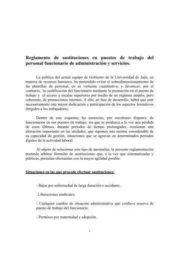 Reglamento de sustituciones en puestos de trabajo del personal ...