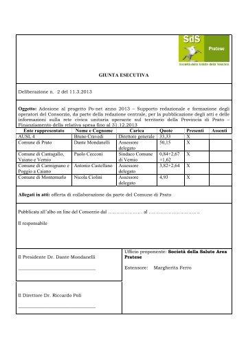Adesione al progetto Po-net anno 2013 – Supporto redazionale e ...