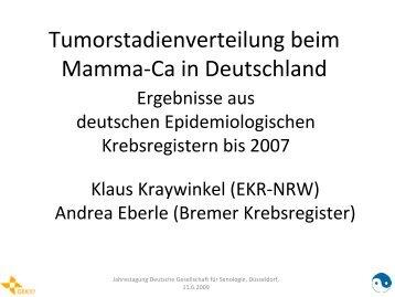 Tumorstadienverteilung beim Mamma-Ca in Deutschland