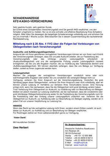 SCHADENANZEIGE - KFZ-KASKO-VERSICHERUNG - HVA24.de