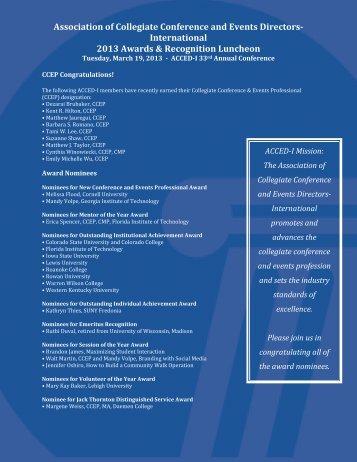Award Nominee Profiles - ACCED-i