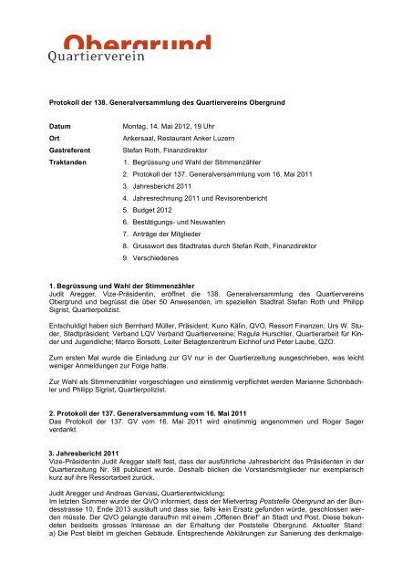 Protokoll der 138. Generalversammlung des ... - Obergrund