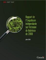 Rapport de l'Enquêteure indépendante sur l'éclosion de listériose ...