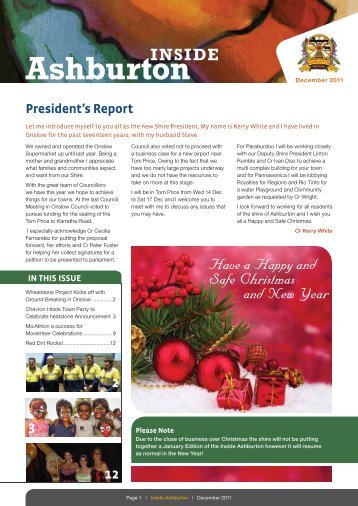 President's Report - Shire of Ashburton