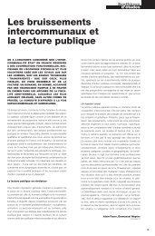 Les bruissements intercommunaux et la lecture publique - Arald