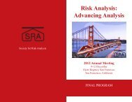 Risk Analysis: Advancing Analysis - The Society for Risk Analysis