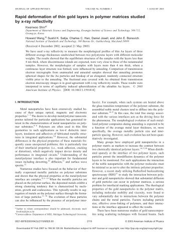 Rapid deformation of thin gold layers in polymer matrices studied by ...