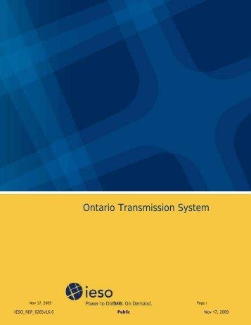 Ontario Transmission System - 2009 Q4 - IESO