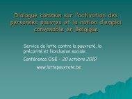 Dialogue commun sur l'activation des personnes pauvres et la ...
