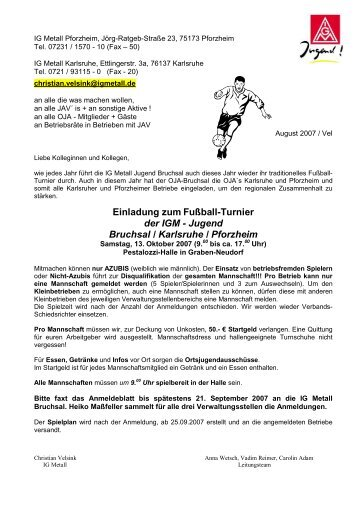 Ausschreibung - IG Metall Pforzheim