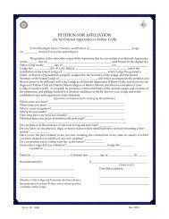 PETITION FOR AFFILIATION - Grand Lodge of Colorado