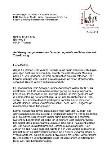 4. Antwort an Bettina Brück - EINE Schule für ALLE