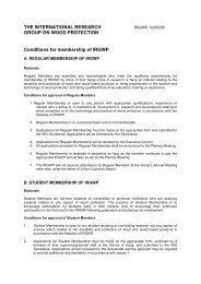 Conditions for membership of IRGWP - IRG. International Research ...