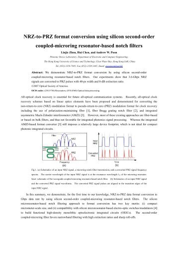 NRZ-to-PRZ format conversion using silicon second-order coupled ...