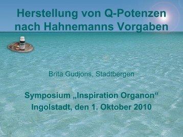 Herstellung der Q-Potenzen nach Hahnemanns Vorgaben