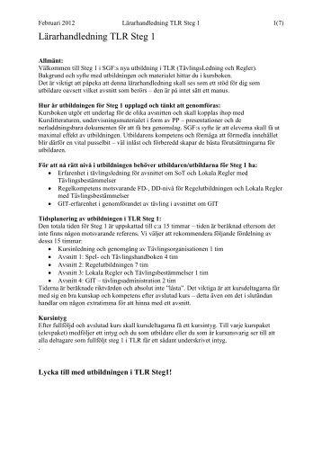 Lärarhandledning TLR Steg 1 - Golf.se