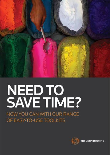 """""""Need to Save Time?"""" Toolkits brochure - Thomson Reuters"""