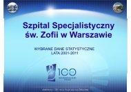 WYBRANE DANE STATYSTYCZNE ZA 2011 ROK Operacje i ...