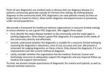 Assessing point-of-care diagnostics for resource limited
