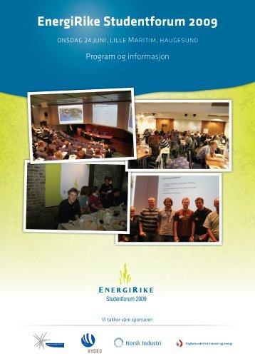 Program EnergiRike Studentforum 2009 - Industri Energi