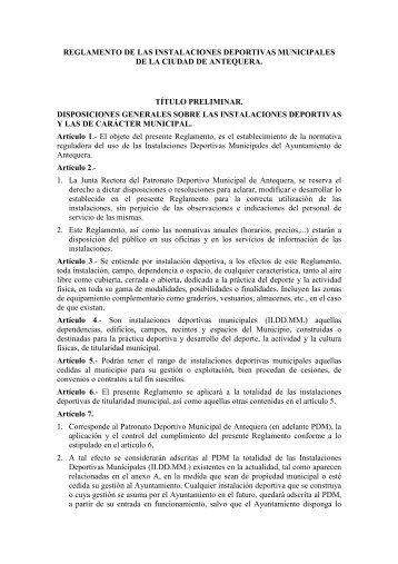Reglamento de Instalaciones Deportivas - Ayuntamiento de Antequera