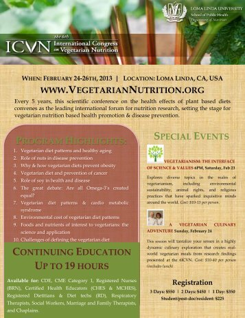 program highlights - International Congress on Vegetarian Nutrition