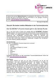 medienmitteilung globonet etourism-Award 2012