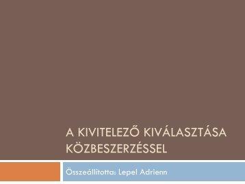 Építési közbeszerzés (dr. Lepel) - mono.eik.bme.hu
