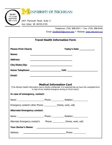 Medical & Emergency Contact Information Form
