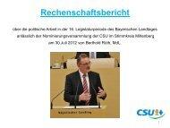 Rechenschaftsbericht Berthold Rüth, MdL