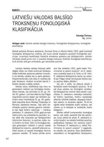 Latviešu vaLodas baLsīgo troksneņu fonoLoģiskā kLasifikācija