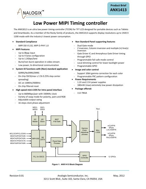 Low Power MIPI Timing controller - Analogix