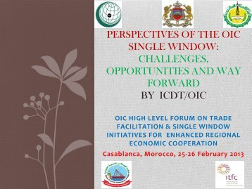 perspectives of the oic single window: challenges ... - ICDT