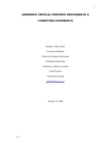assessing critical thinking processes in a computer conference