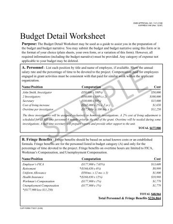 Budget detail worksheet budget detail worksheet sample ibookread PDF
