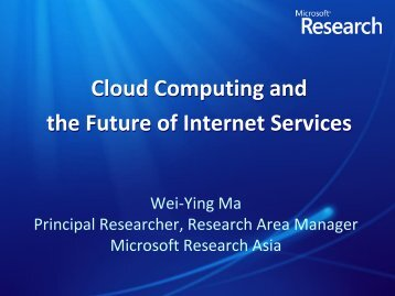 Cloud Computing and the Future of Internet Services - aclclp
