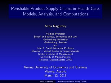 Perishable Product Supply Chains in Health Care - The Virtual ...
