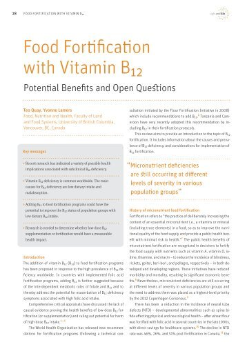Food Fortification with Vitamin B12 - Sight and Life