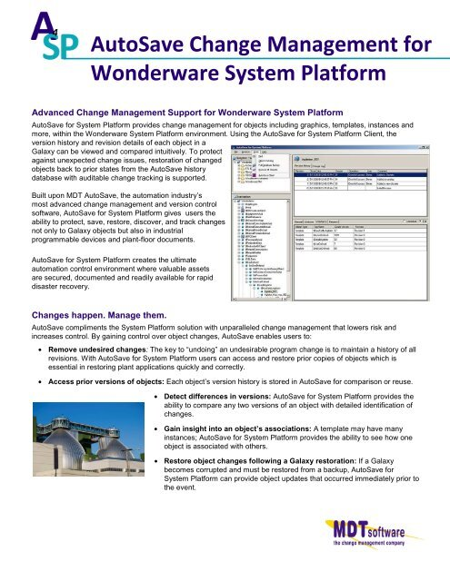 Wonderware System Platform pdf - MDT Software