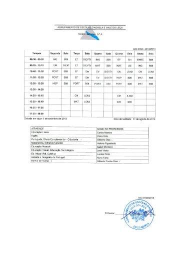 Horários - Agrupamento de Escolas da Agrela e Vale do Leça