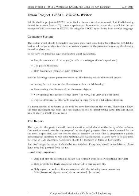 Exam Project 1/SS13, EXCEL-Writer - Baustatik-Info-Server