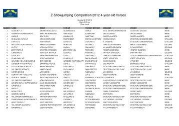 Startlijst 4-jarige z-paarden Zondag 22-07-2012