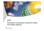 DLR Germany's aerospace research center and space agency.