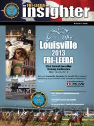 FBI-LEEDA Insighter magazine - April 2013/Issue I