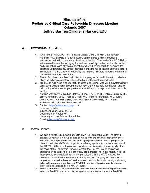 Minutes of the Pediatrics Critical Care Fellowship     - PedsCCM org