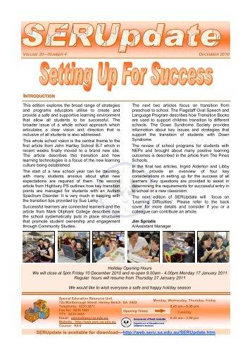 Term 4, 2010 - Setting Up For Success - (pdf file) - SERU