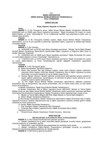 Staj Yonergesi - Niğde Sosyal Bilimler Meslek Yüksekokulu