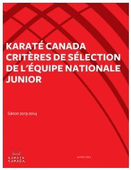 Critères de l'équipe nationale Junior 2013-2014 - Karate Canada